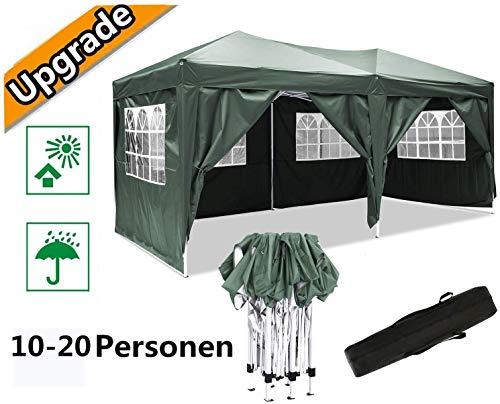 Oppikle Plegable Carpa con Paredes 3x3/3x6m - Impermeable, con Protección Solar, Ideal para Fiestas en el Jardín - Gazebo,Cenador,Pabellón,Tienda Fiestas,Persona 10-20 (3x6m, Verde)