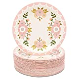 Serves 80: Instantly elevate your floral party decor with our pink dinnerware set that will instantly elevate your dining table, buffet, or dessert table setting Floral Party Decorations: The pink paper plates feature lovely flowers on the front; ide...