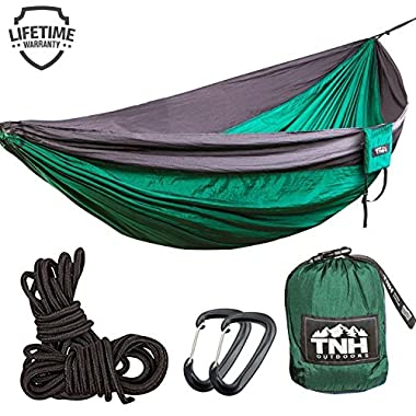 TNH Outdoors #1 Premium Double Camping Hammock By Premium Quality Hammock - Strongest 9ft Straps With 30 Multi Hitch Points - Larger 10x6.6ft Hammock