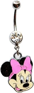 Minnie Mouse W/Sparkles Pink Bow Navel Belly Button Ring Body Jewelry Piercing