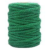 Tenn Well Green Garden Twine, 100 Feet x 5mm Wide Braided Jute Rope for Gardening, Crafting, Packing and Bundling