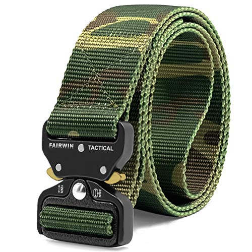 Fairwin Tactical Belt, Military Style Webbing Riggers Web Belt with Heavy-Duty Quick-Release Metal...