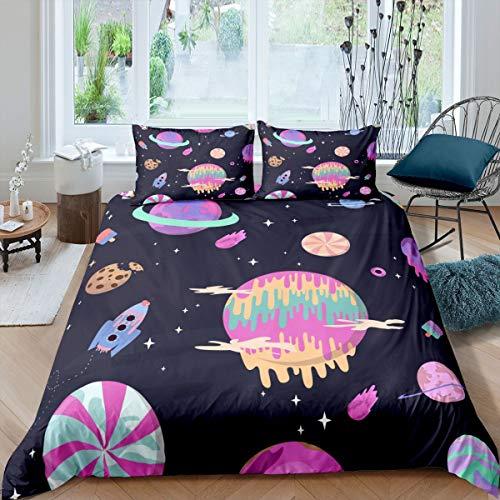 Juego de Funda nórdica Galaxy Juego de Cama Space Rocket 260x220cm Juego de Cama Purple Universe Planet Juego de Cama de Lujo Sparkle Stars Candy 3 Piezas