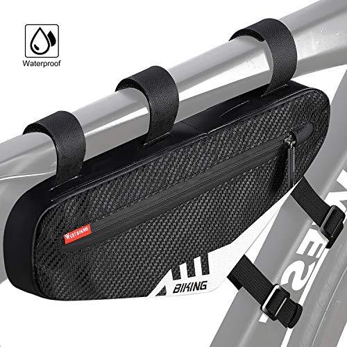 Fahrrad Rahmentasche Oberrohrtasche, Wasserdicht Lenkertasche Dreiecktasche für Rennrad Mountainbike, Triangle Bag für Smartphone, Brieftasche, Schlüssel, Handschuhe, Mini Fahrradpumpe, Fahrradzubehör