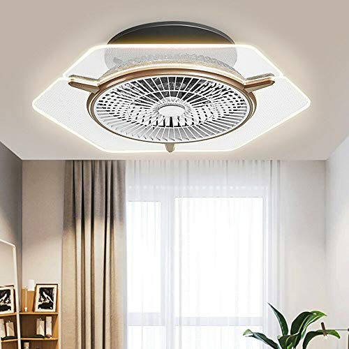 Modern Ceiling Fan with Lights, 22' Dimmable Flush Mount Cooling Fan Acrylic Chandelier 3 Gear Wind Speed for Bathroom Living Room Dining Room w/Remote Temperature Control 110V