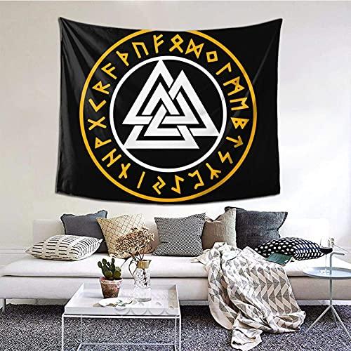 Tapiz de pared con símbolo de Valknut de guerrero nórdico para decoración de dormitorio, sala de estar impreso (60 x 129,5 cm), estilo retro, color negro