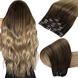 commercial Hair Extension Sun Clip Brown Blonde Hair Extension 18 inch Clip Ombre Brown to Light … coco hair extensions