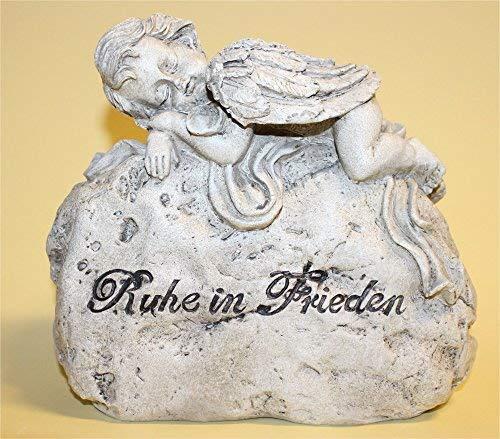 Engel liegend auf einen Gedenkstein mit der Aufschrift Ruhe in Frieden anmutiger Trauerschmuck Trauerengel Grabfigur Trauerfigur Gedenkstein wetterfest