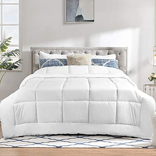 TECHTIC Comforter Duvet Insert Queen Size, Plush White Comforter Down Alternative Quilted Stand Alone Bedding Comforter for All Season, Box Stitched, Machine Washable