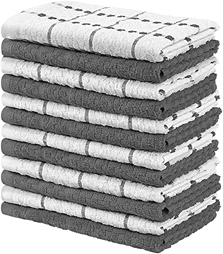 Utopia Towels Kitchen Towels, Pack of 12, 15 x 25 Inches, 100% Ring Spun Cotton Super Soft and Absorbent Grey Dish Towels, Tea Towels and Bar Towels