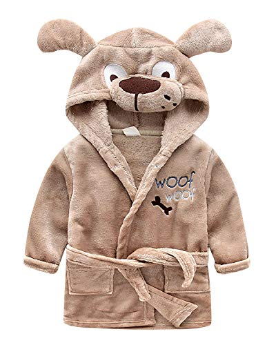YAOMEI Kinder Morgenmantel Bademäntel Einhorn Kapuzenpullover Jungen Mädchen Kigurumi Karikatur Nachtwäsche Nachthemd Schlafanzug (140, Hund)