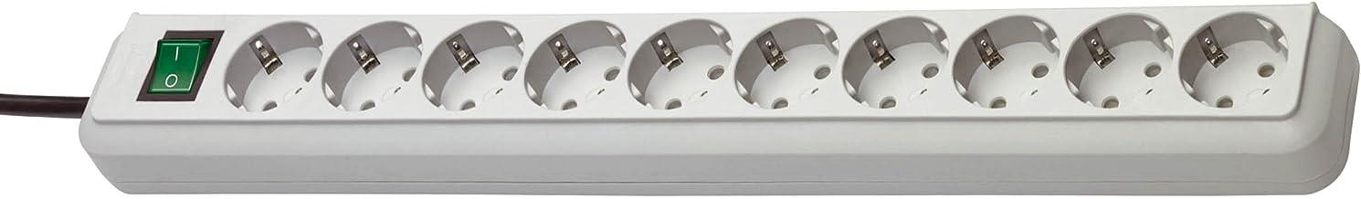 Brennenstuhl Eco-Line 10-voudige stekkerdoos (stekkerdoos met kinderbeveiliging, schakelaar en 3 m kabel) Single lichtgrijs
