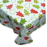 Home Bargains Plus Christmas Tree Whimsy Flannel Backed Holiday Vinyl Tablecloth - 52' x 70' Oblong