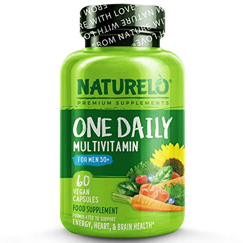 NATURELO One Daily Multivitamin for Men 50+ - with Natural Food-Based Vitamins, Fruit & Veg Extracts - Best for Essential Nutrients for Men Over Fifty - Non-GMO - 60 Vegan Capsules | 2 Month Supply