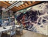 3D Murales Papel Pintado Pared Calcomanías Decoraciones Mujer Tirando Del Tren Nostálgico Graffiti De Estilo Europeo Y Americano Cocina Infantil De Arte De Fondo (W)250x(H)175cm