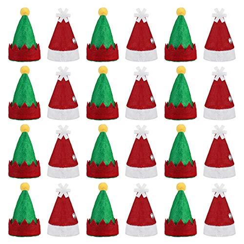 Amosfun Mini Weihnachtsmannmütze Lollipop Elf Hut Deko Lollypop Weihnachtsmann Hüte Finger Cap Weinflache Hut Weihnachten Party Deko 24 Stück (Rot und Grün)