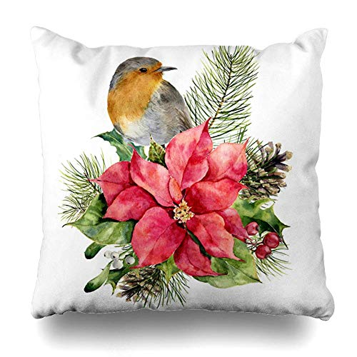 N\A Throw Pillow Cover Square Inches Greeting Watercolor Robin Poinsettia Christmas Floral Decor Signs Flower Symbols Holidays Branch Decorative Pillowcase Home Decor Cushion Pillow Case