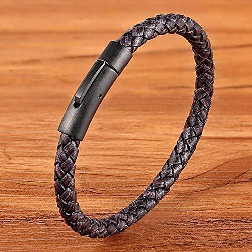 N-B Pulsera de Cuero para Hombre Pulsera Trenzada Negra de 21 cm...