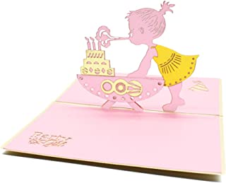 Magic Ants Handmade 3D Pop Up Card Birthday Cards for Kids Girl Daughter Baby Shower Birthday Party Creative Greeting Cards Papercraft Envelopes Sticker Include