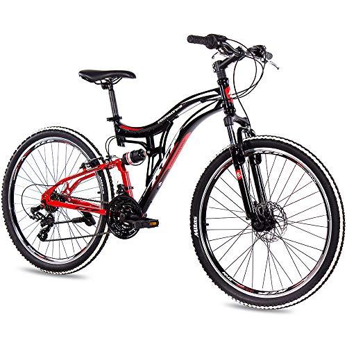 KCP Bicicleta de montaña de 26 pulgadas – MTB Fairbanks negro rojo – suspensión completa – Bicicleta juvenil unisex para niños y mujeres – MTB Fully con 21 velocidades Shimano