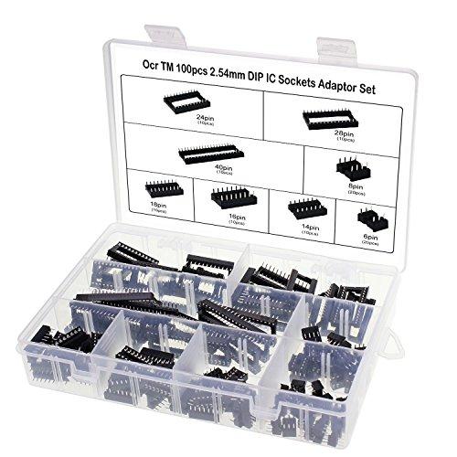 OCR 100Pcs 2.54mm Pitch Dual Row DIP IC Sockets Solder Type Adaptor Set, 6,8,14,16,18,24,28,40Pin 8 Types IC Socket Adaptor Connector