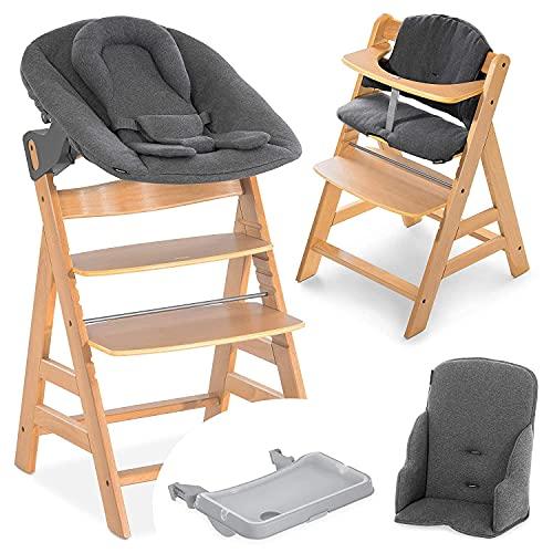 Hauck Baby Hochstuhl Alpha XXL Set ab Geburt - mit Neugeborenenaufsatz, Essbrett und Sitzverkleinerer/Mitwachsender Holz Babystuhl mit Liegefunktion und Sitzauflage - Natur Dunkelgrau
