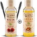 (2X50ML) Huile de ricin et Huile d'argan bio pure 100% naturelle pressée à froid nourrit purifie stimule et renforce la pousse de la barbe,cils,sourcils,ongles et cheveux riche en oméga 6/9 vitamine E
