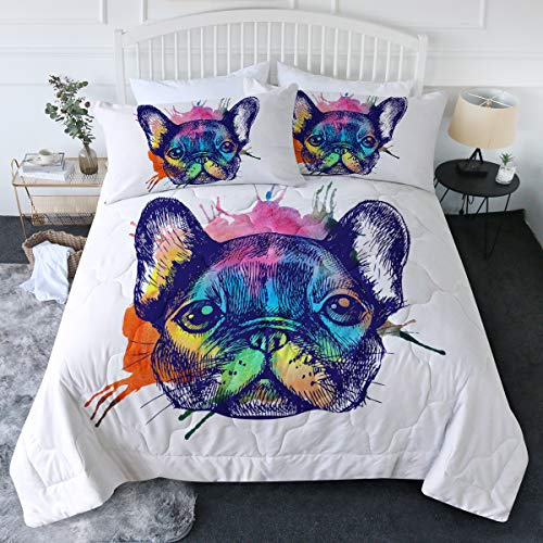 BlessLiving Animal Dog Printed Comforter Set & Pillowcase Set Watercolor French Bulldog White Bedding 3 Pcs Colorful Abstract Art Bedspread Super Soft and Easy Care (Twin/Twin XL)