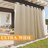 RYB HOME Indoor Outdoor Deck Curtain, Outdoor Patio Curtain Waterproof Windproof, Darkening Window Panel for Sliding Door/Foyer/Arbor/Lanai, 100-inch Width x 84-inch Length, 1 Pc, Biscotti Beige