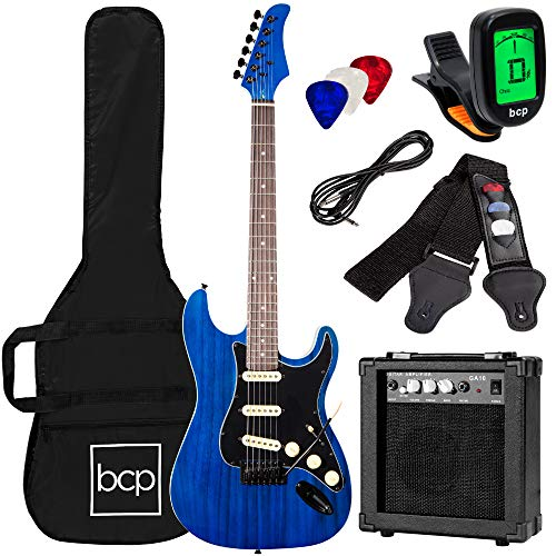 Best Choice Products 39in Full Size Beginner Electric Guitar Starter Kit w/Case, Strap, 10W Amp, Strings, Pick, Tremolo Bar - Midnight Blue