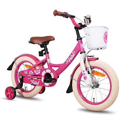 HILAND Petal 16 Zoll Kinderfahrrad für Mädchen 4-7 Jahre mit Korb, Stützräder, Handbremse und Rücktritt Rosa pink