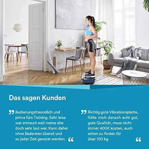 skandika Vibration Plate Home V1 - Plateforme vibrante oscillante - Sangles d'entraînement - Moteur 200W - Télécommande au Poignet (Bleu foncé)