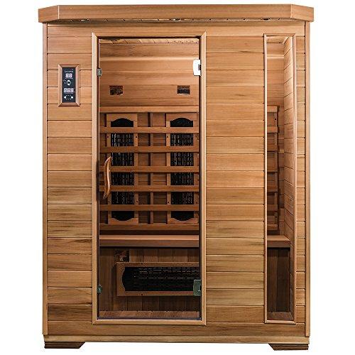 SaunaMed 3-Personen-Sauna, luxuriös, Zedernholz, Fern-Infrarot-Sauna, ohne elektromagnetische Strahlung