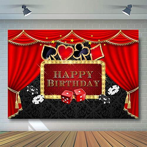 COMOPHOTO Casino Party Background Poker Las Vegas Party Birthday Theme Casino Night Photography Backdrop Decorations Props