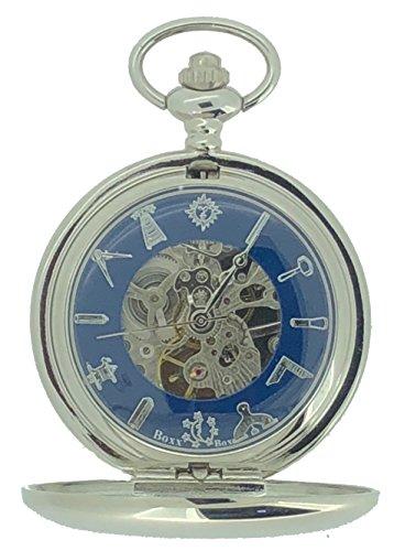 Freimaurer Freimaurer Silber Ton Skelett Mechanische Taschenuhr
