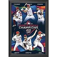 Washington Nationals Baseball Wall Art Decor Framed Print | 2019 MLB World Series Champions 24x36 Premium (Canvas/Painting Like) Textured Poster | Memorabilia Posters & Gifts for Guys & Girls Bedroom