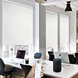 Graywind Motorized Roller Shades 100% Blackout Free Stop Window Shades Cordless Wireless Remote Control Window Roller Blinds with Valance for Smart Home and Office, Customized Size, Jacquard White