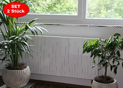Heizkörperverkleidung 60 x 60 cm Design: Rain, weiß (SET=2 Stück) Marke: Szagato (Heizkörper-abdeckung für Heizkörper/Heizung Heizungs-verkleidung Heizkörper-verkleidung Heizungs-abdeckung)