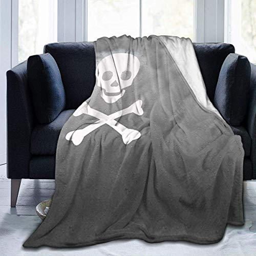 Manta Polar con Flecos | Icono de Pirata Cráneo Cruzado ToqueAdecuada para Todas Las Estaciones (200 x 150 cm)