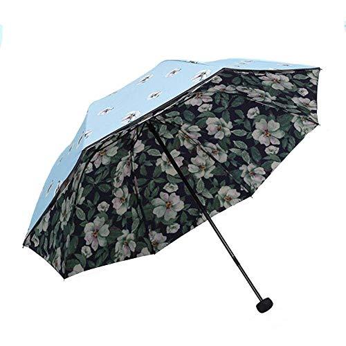 Mode Blume Sonnencreme Regenschirm SPF 50+ Damen Sonnenschirm Sonnenschutz UV-Schutz Damen Doppelter Winddichter Regenschirm (blau) (Farbe : Blau)