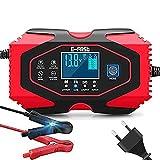 Dweyka Chargeur de Batterie pour Voiture et Moto Intelligent 12V/24V, Mainteneur de Chargeur Batterie Voiture, 3 Étapes de Chargeur Batterie et Automatique Réparation - Rouge