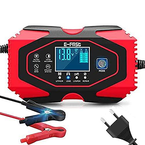 Cargador de Baterías Coche,12V/24V Coche Moto Cargador Rápido Automático Protección con Pantalla LCD Mantener y Reparar baterías para Varios vehículos