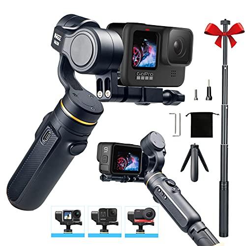 Stabilizzatore cardanico a 3 assi compatibile con Action Camera GoPro Hero 10 9 8 7, Osmo Action, Insta360, durata della batteria di 9 ore, treppiede e kit di aste di prolunga,–INKEE Falcon