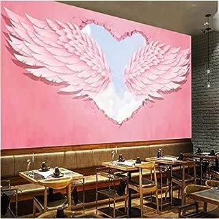 Modern Fashion Ins 3D Pink Heart Angel Wings Decoración industrial Mural de pared Hot Online mural Red Cafe Dessert Shop Wallpaper 3D-250X200CM