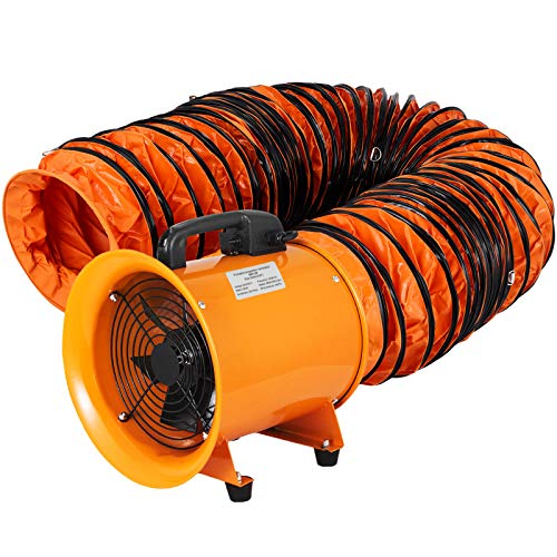 OrangeA Utility Blower Fan 8 inch Portable Ventilator High Velocity Utility Blower Mighty Mini Low Noise with 5M Duct Hose (8 inch Fan with 5M Hose)