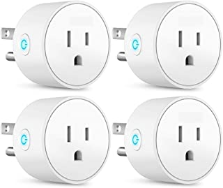 BOLLAER Smart Plug Mini Outlet Compatible with Amazon Alexa and Google Assistant, Wifi Enabled Remote Control Smart Socket with Timer Function, No Hub Required, 4 Pack