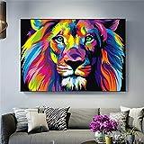 YCCYI Aquarelle Graffiti Lion Pop Art Affiches Et Estampes Animaux Abstraits Toile Art Peintures Murales Photos pour Salon20 80x120cm (32x47in) sans Cadre