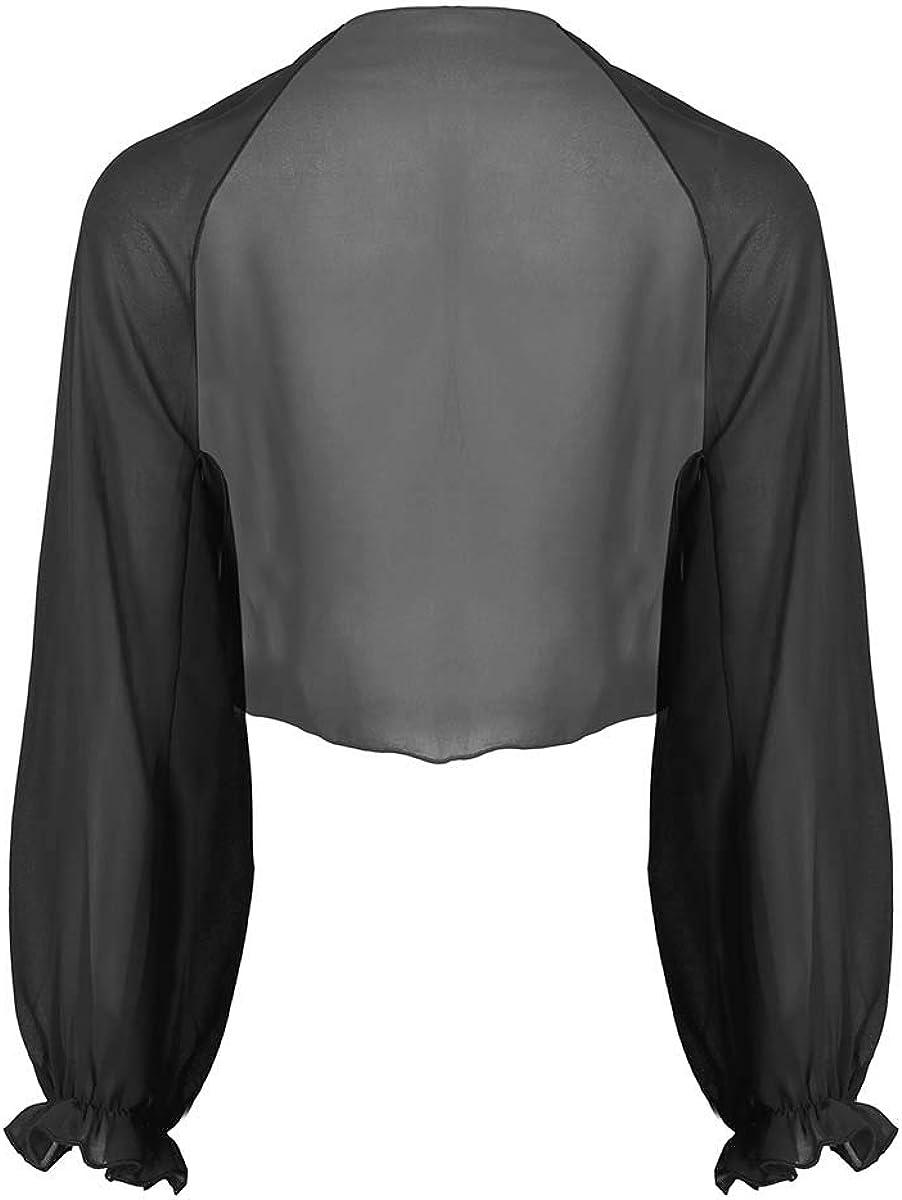 ACSUSS Womens Soft Chiffon Long Raglan Sleeve Open Front Shrug Beach Thin Cardigan Tops
