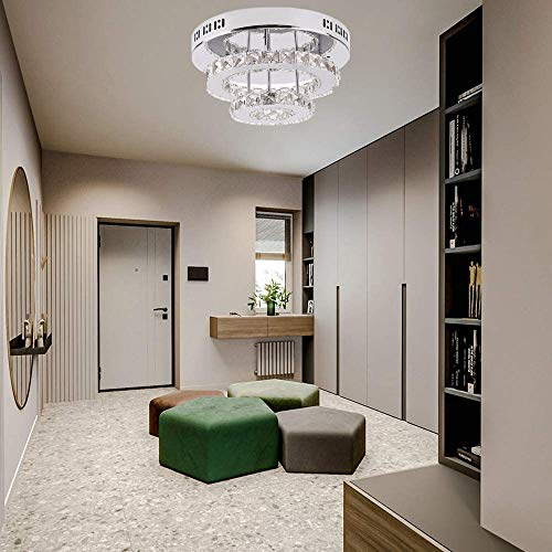 Goeco Plafón de cristal 36W, Lámpara de araña moderna redonda LED, utilizada la sala dormitorio, Luz blanca fría