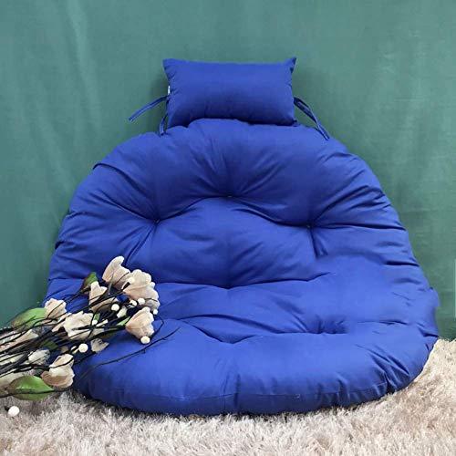 WGG Hanging Egg hangmat zitkussen, schommelstoel kussen met kussen dikke ronde buiten verwijderbaar wasbaar D105cm(41inch) Royal Blauw